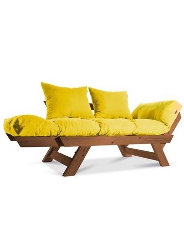 Dekoro Kombin Wood Ahşap Iki Kişilik Kanepe, Bahçe Kanepesi, Yataklı Kanepe (Gürgen/Sarı) Sarı